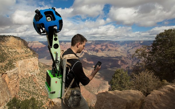 Google's Street View Trekker being used in the Grand Canyon.