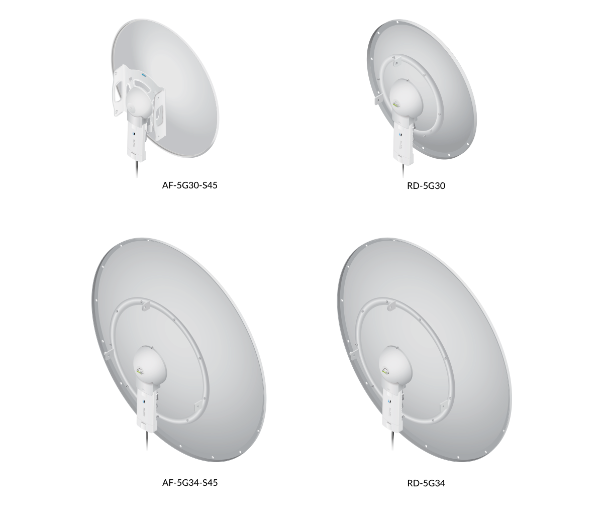 airFiber AF-5G30-S45 and AF-5G34-S45 antennas with RocketDish RD-5G30 and RD-5G34 antennas