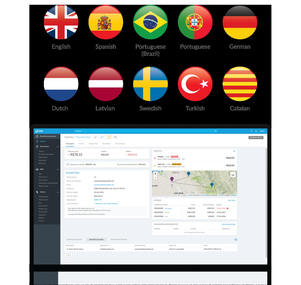 UCRM Agora Disponível em 10Línguas