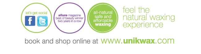 Let's Get Social on Facebook and Twitter / Uni K Wax Centers win Allure Best of Beauty two years in a row / the all-natural safe and affordable waxing