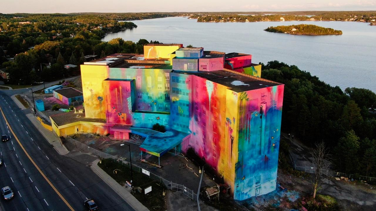 building with a mural on it