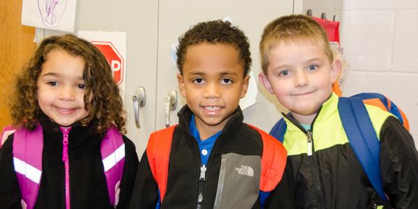 Kids in classroom banner