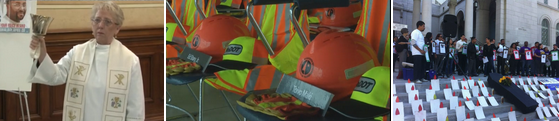 Bell ringer from KGWN-TV report. Hardhats from Labor Education Service Video. L.A. City Hall event from SoCalCOSH Facebook Page.