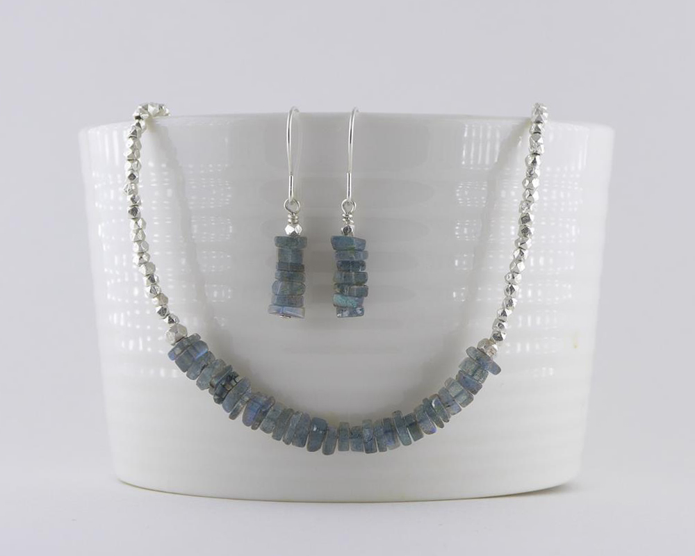 Labradorite Necklace and Earrings