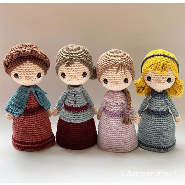 Four amigurumi dolls