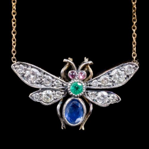 Sapphire, Diamond and Emerald Insect Pendant in Gold and Silver