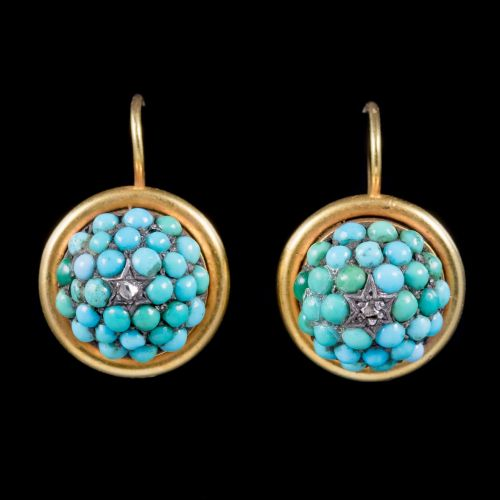Turquoise and Diamond Victorian Earrings
