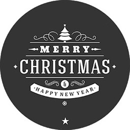 Graphic saying Merry Christmas and happy new year in black and white.