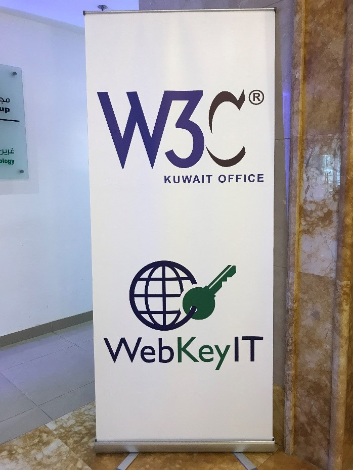 banner in kuwait office with W3C and Web Key IT logos