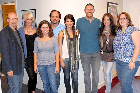 The McClymonts at MusicRow - Pictured L-R: David Ross, Founder; Mollie McClymont; Sara Skates, News Editor; Sherod Robertson, President; Sam McClymont; Jon Freeman, Chart Director; Brooke McClymont; and Christie King, Art Director/Production Mgr.