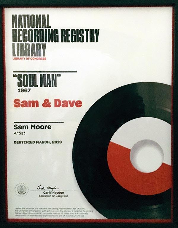"Sam Moore: National Recording Registry Library ""Soul Man"" plaque"
