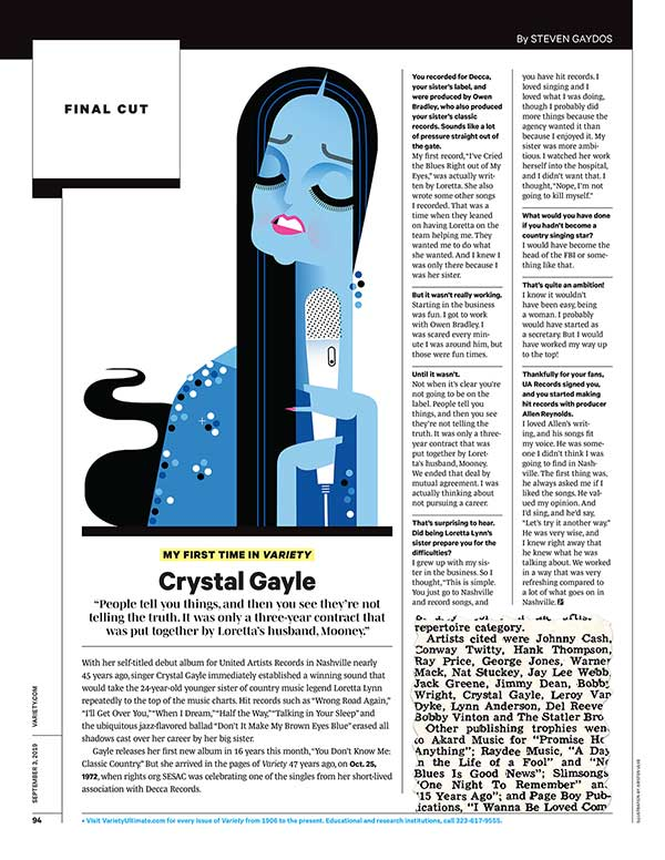Crystal Gayle: Variety (9/3 issue, p. 94)