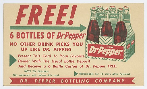 Old advert for free drink from bottle deposit
