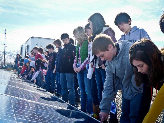 Children with solar panels