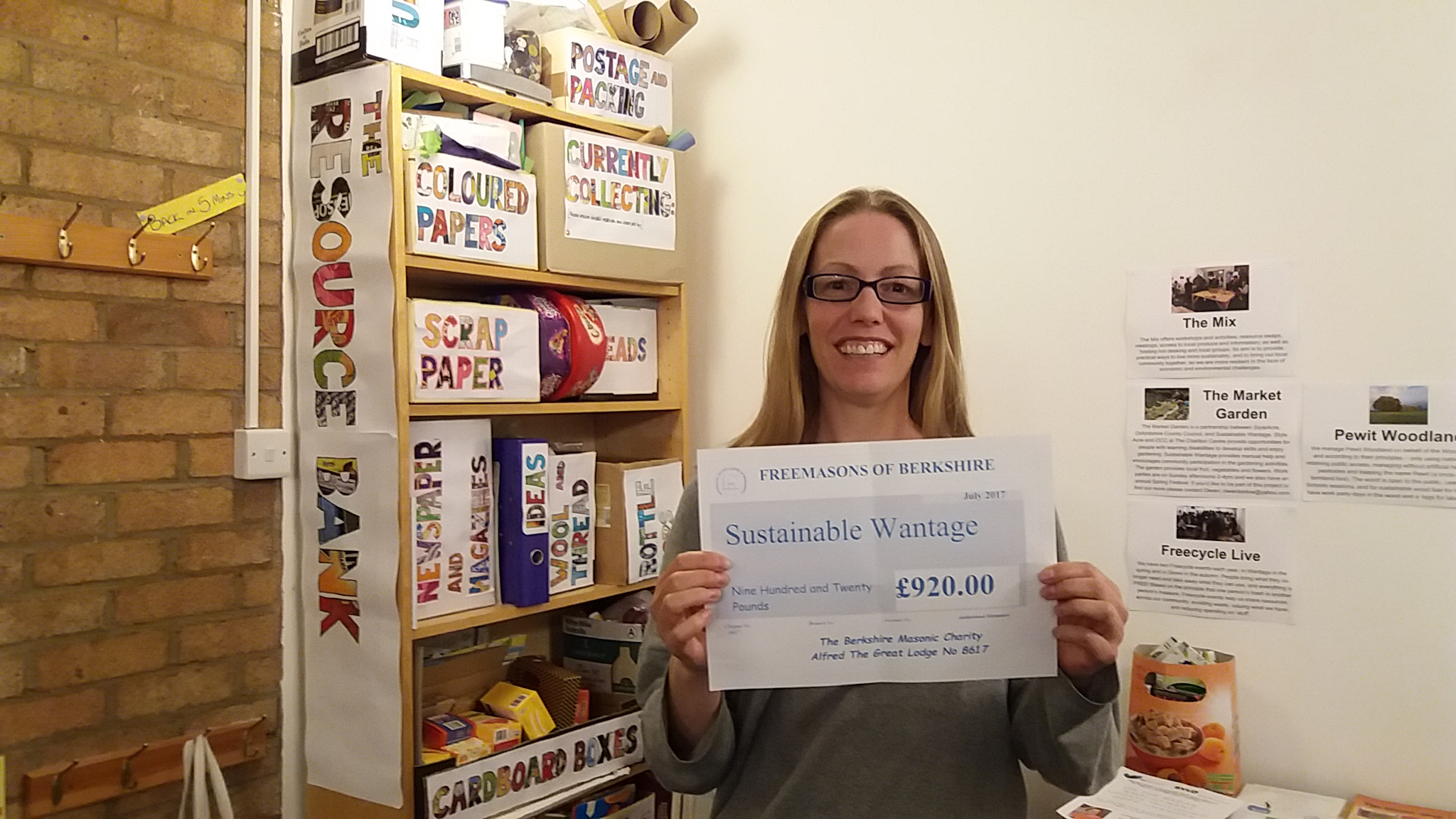 Jo with cheque for apple press from Masonic charity