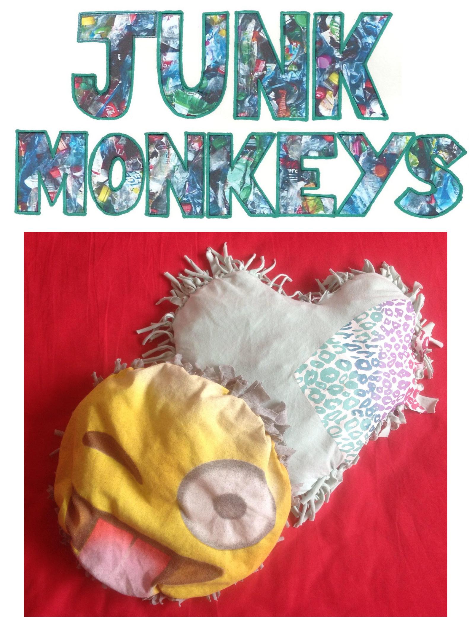 Junk Monkeys T shirt cushion