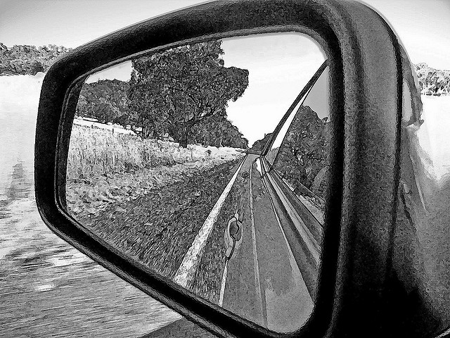 Hindsight - Image in car wing mirror