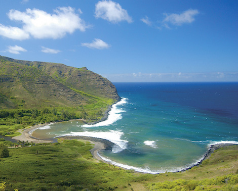 Spectacular view of Halawa Valley and coastline, Molokai