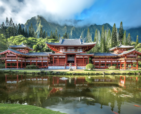 Byodo-In Buddhist Temple with Koolau Mountains in background, Kaneohe, Island of Oahu