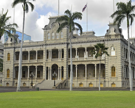 Front view of Iolani Palace in Honolulu, Oahu