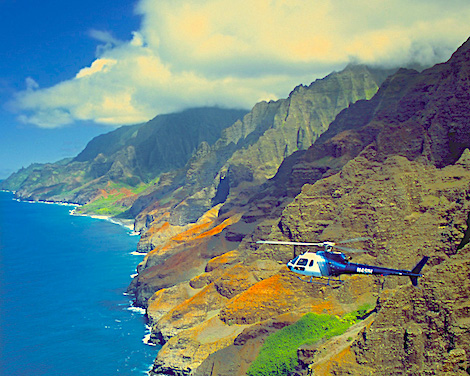 Aerial view of helicopter over NaPali Coast, Kauai