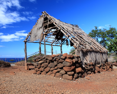 Remains of ancient Hawaiian structure at Lapakahi State Historical Park, island of Hawaii