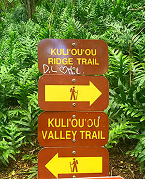 Kuliouou Ridge Trail Sign