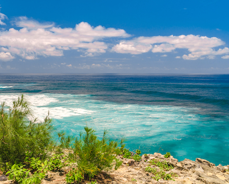 Coastal view of the Pacific Ocean from the Mahaulepu Heritage Trail, island of Kauai, Hawaii