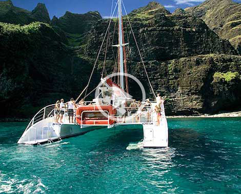 Capt Andy's Gold Coast Yacht at Na Pali Coast, Kauai