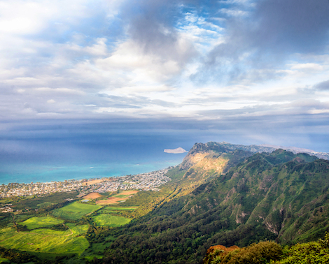 Panoramic view of East Oahu from Kuliouou Summit Trail, Oahu, Hawaii