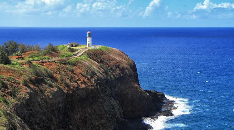 View of Kilauea Point Lighthouse with Pacific Ocean in background, island of Kauai