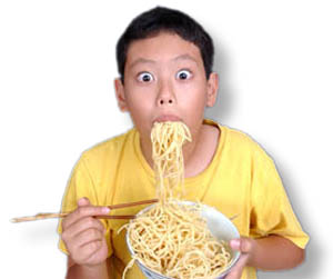 Boy Eating Noodles