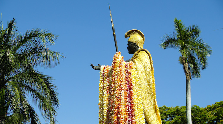 Statue of King Kamehameha draped in lei