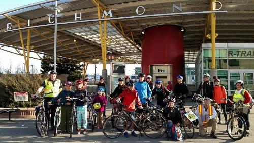 cyclists at Richmond Transit Center