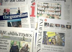 Newspapers with cancer headlines