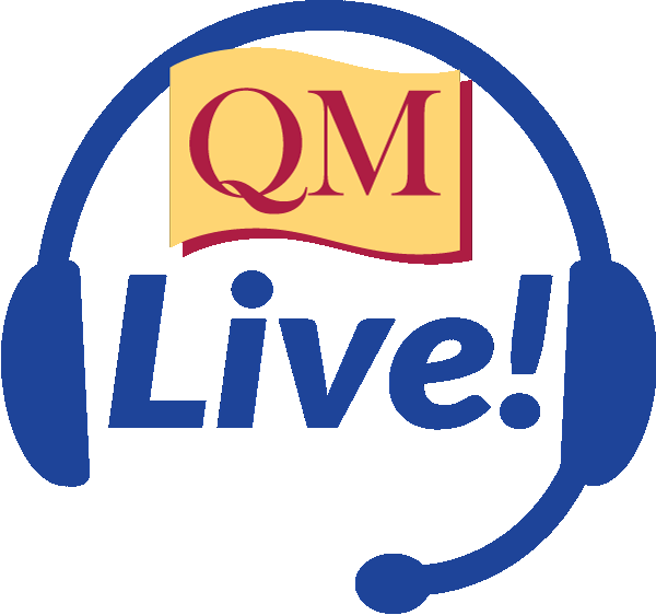 illustration of headphones with the words QM Live