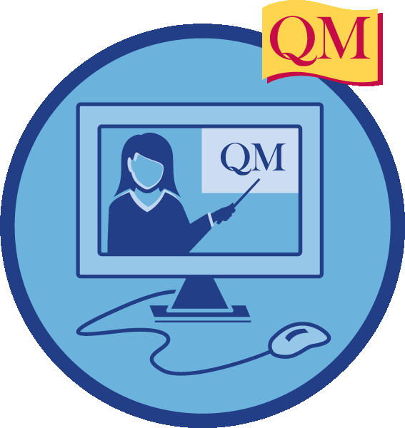 illustration of a computer witha person on the screen pointing to QM