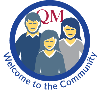 illustration of three people inside a circle with the words Welcome to the Community underneath