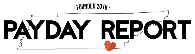 Payday Report logo featuring the name along with an outline of the state of Tennessee with a red heart marking the city Chattanooga.