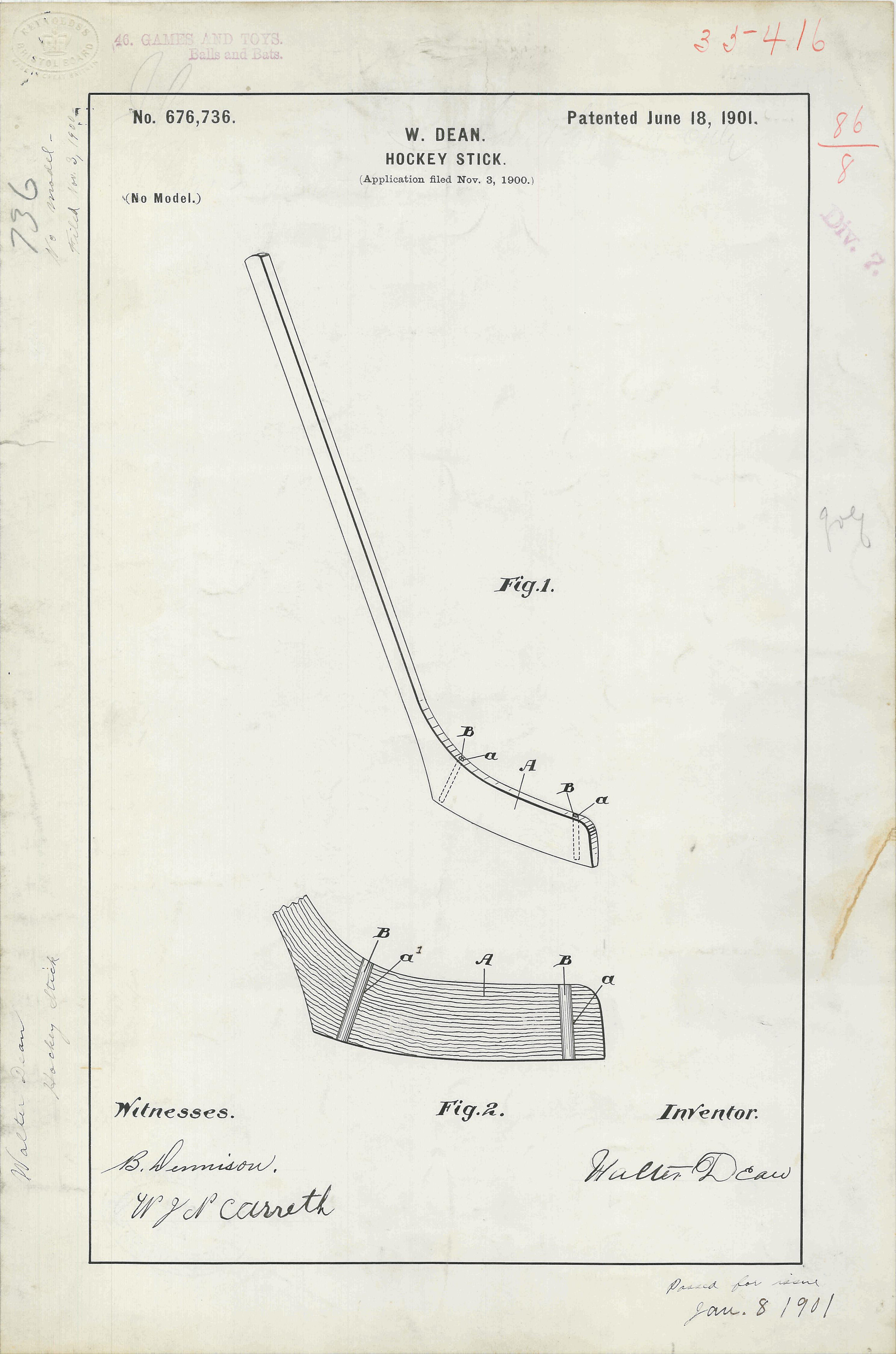 Patent drawing for W. Dean's Hockey Stick