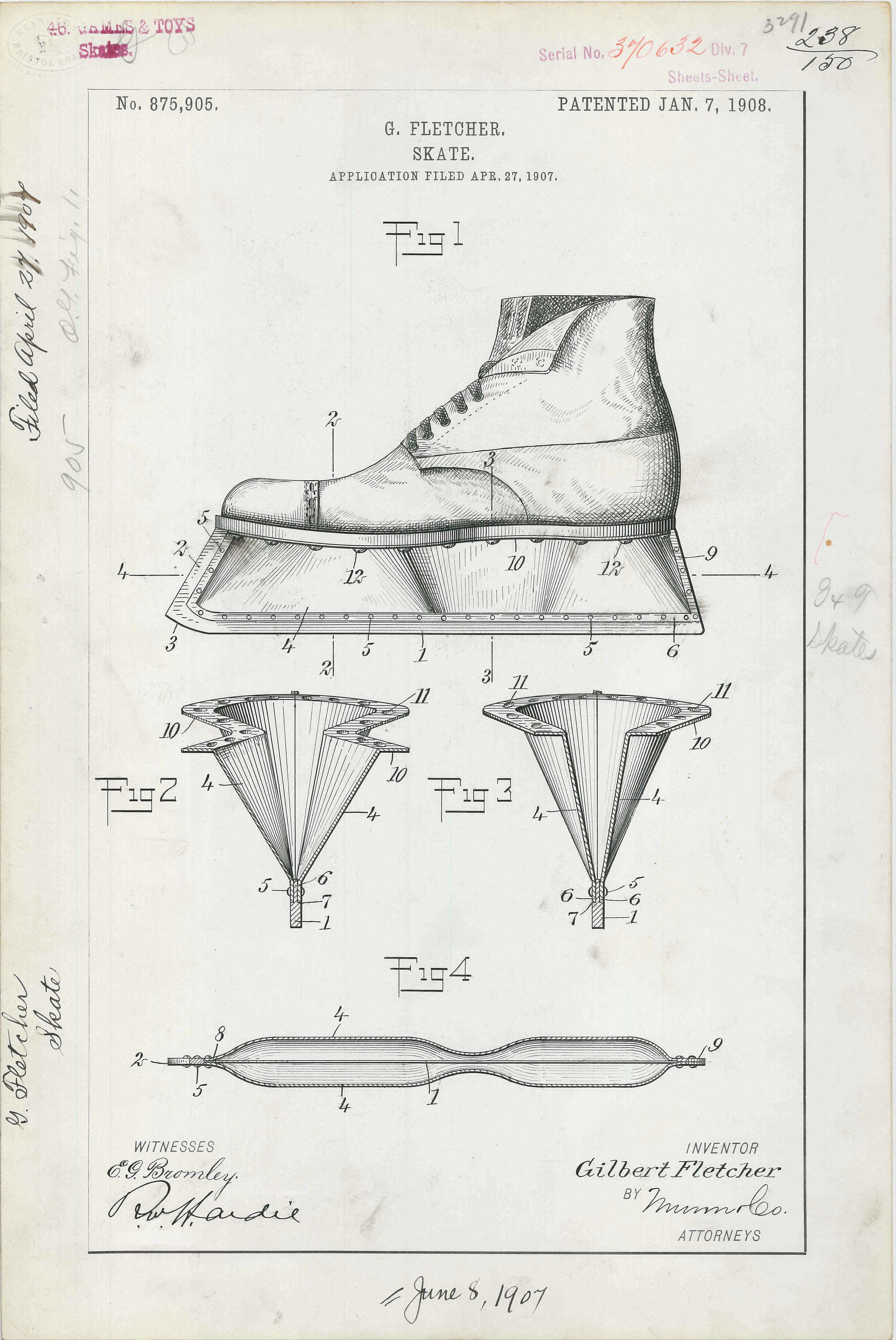 Patent drawing for G. Fletcher's Skate, 1/7/1908