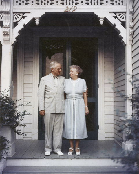 Photograph of President Harry S. Truman and Mrs. Bess Truman on the Porch of Their Independence, Missouri Home