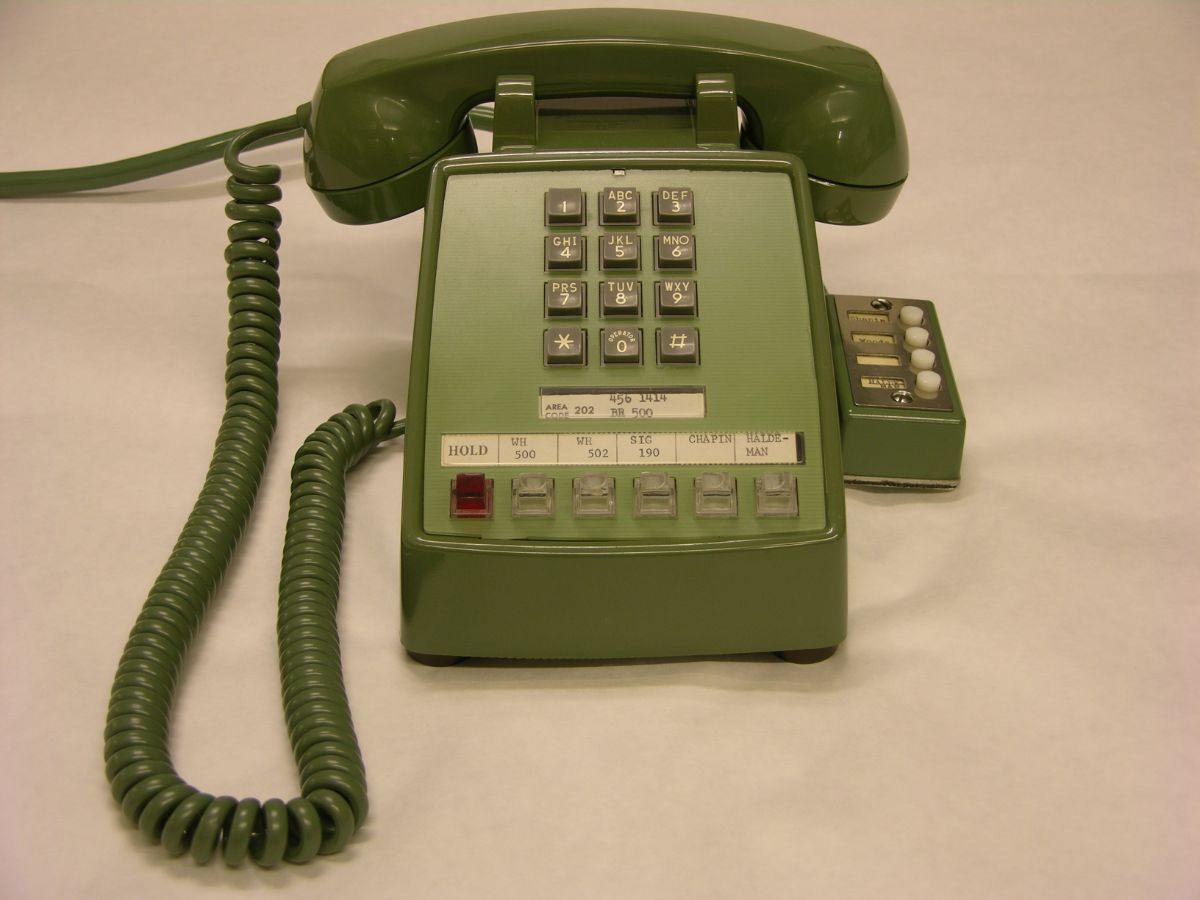 Green office telephone used by President Nixon in the oval office to speak to Apollo 11 astronauts