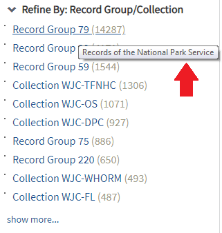 Screenshot, Refine By: Record Group/Collection