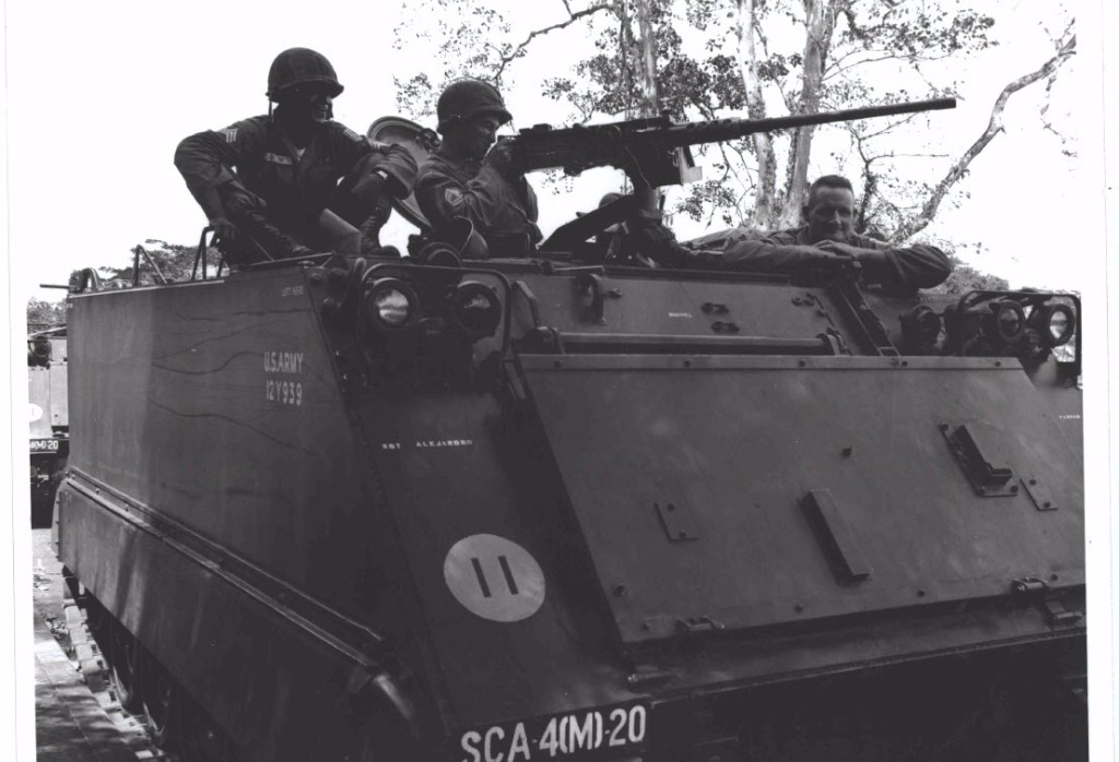Photograph of American soldiers in a Tank