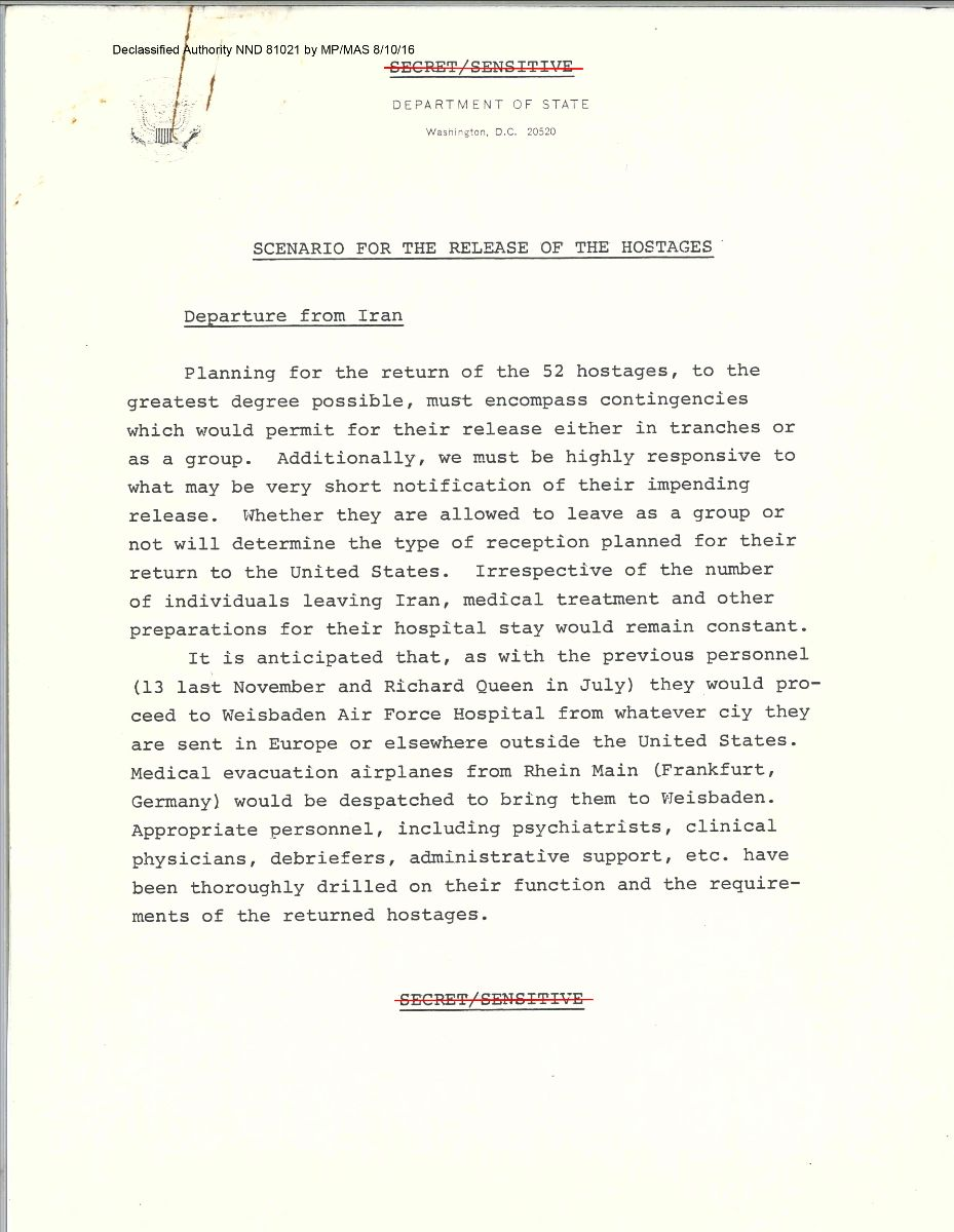 Report on Scenario for the Release of the Hostages