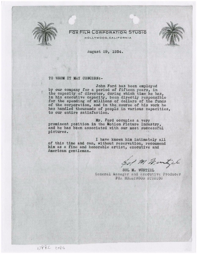 (Left) Letter of Recommendation for John Ford from his Official Military Personnel File, August 29, 1934. (National Archives Identifier 40914175)