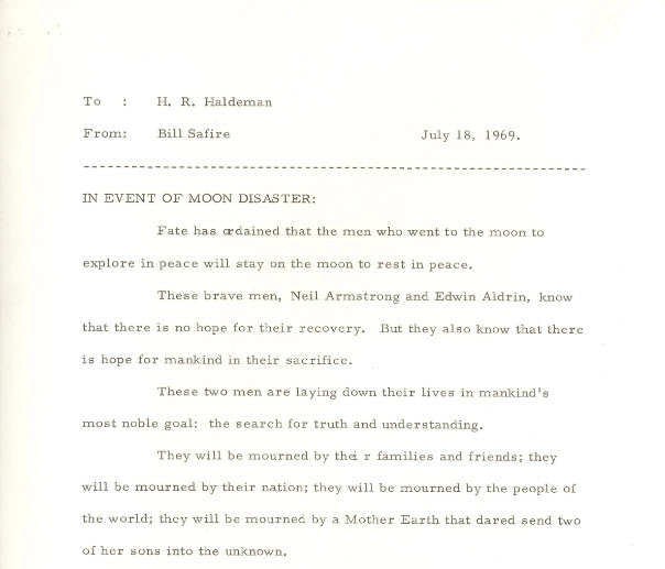 Document from speechwriter in the event of moon disaster