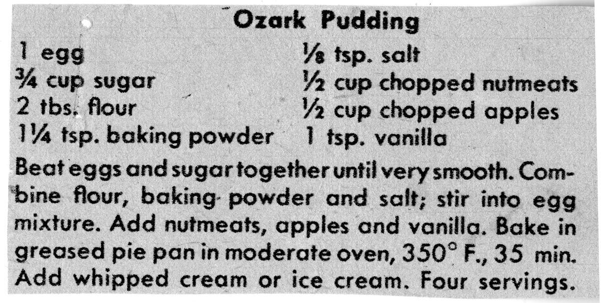 Recipe for Bess Truman's Ozark Pudding
