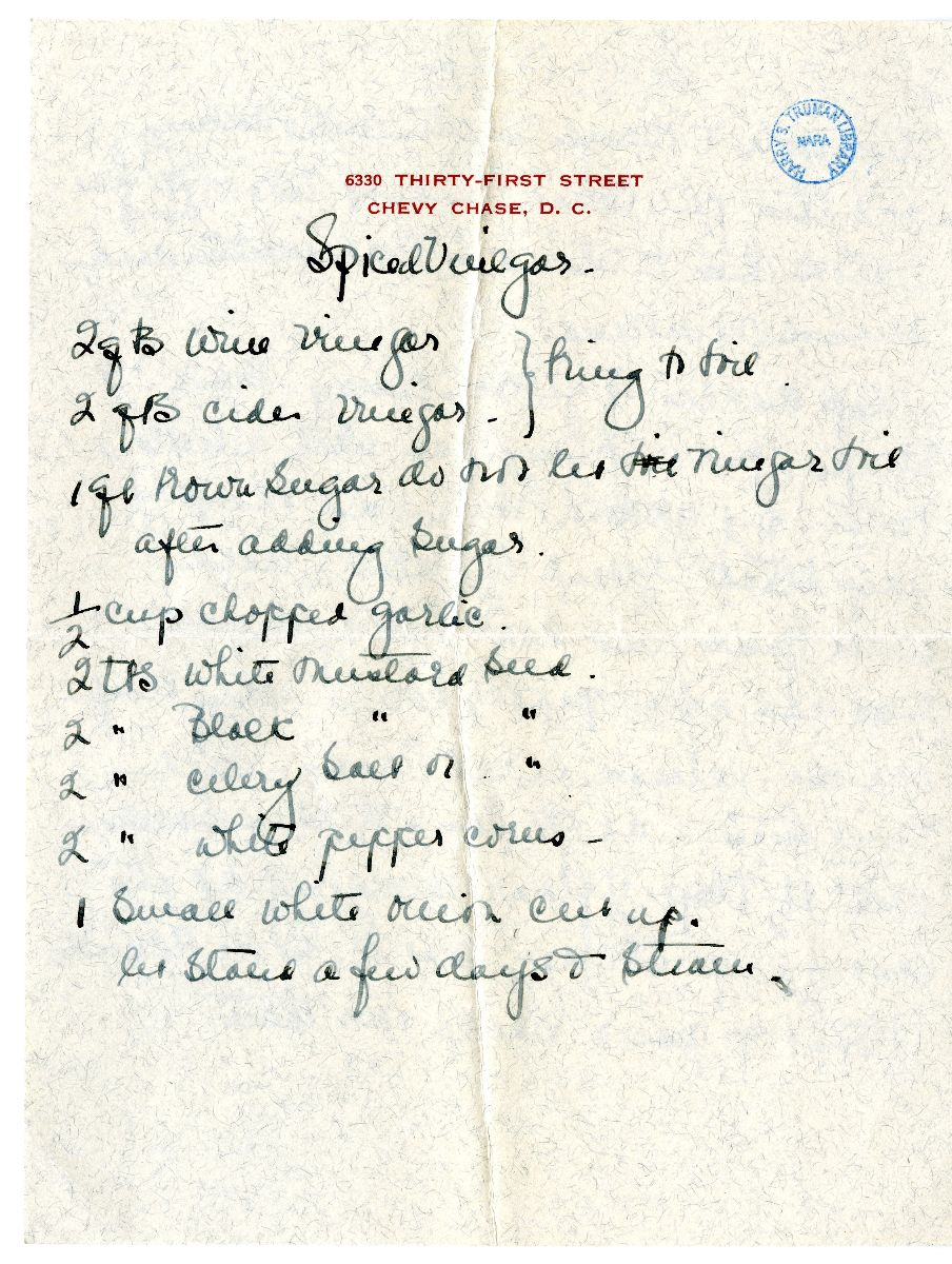 Recipe for Spiced Vinegar and Sweetbreads